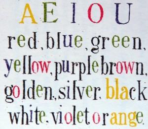 Figure 1 : voyelles colorées de Galton